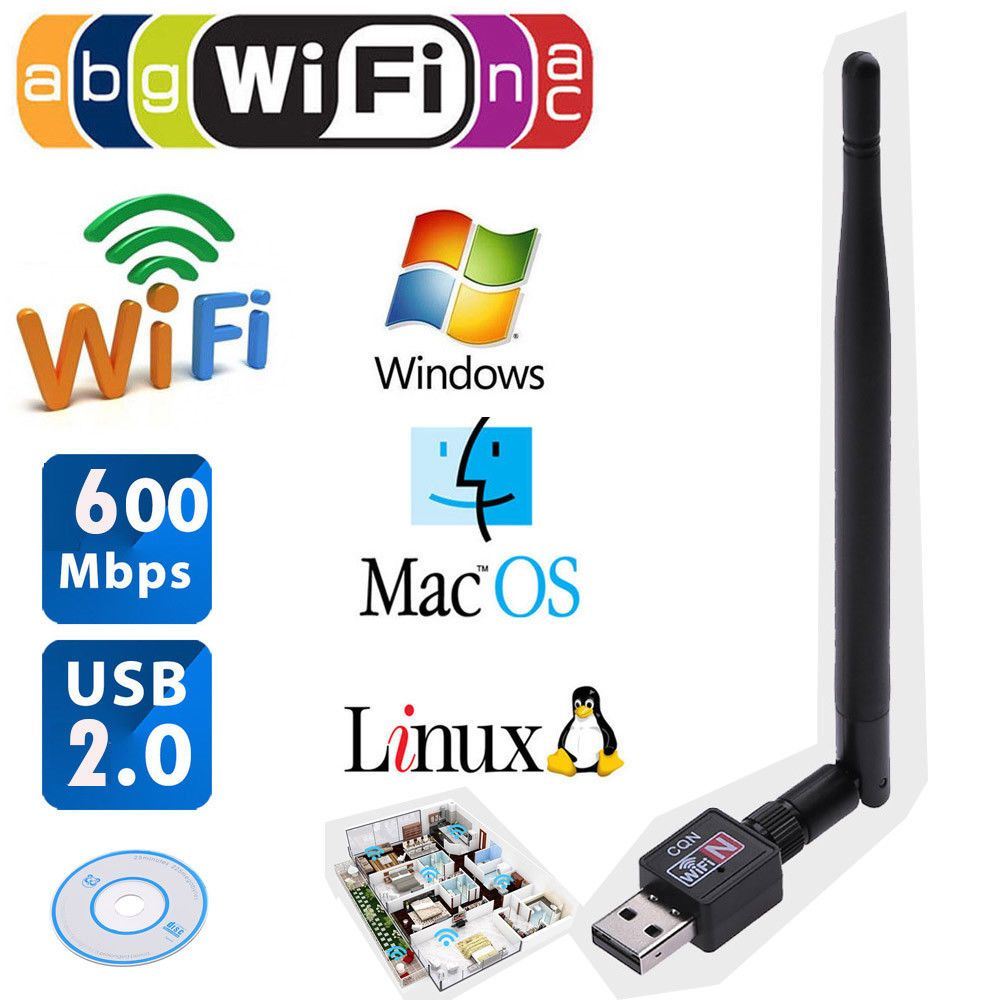 USB 2.0 Wifi Router Wireless Adapter Network LAN Card 5 dBI Antenna 600Mbps US