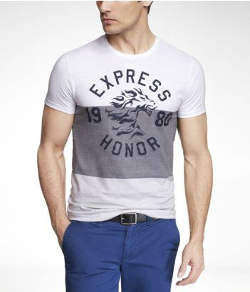 FITTED WIDE STRIPE GRAPHIC TEE - LEON HONOR | Express