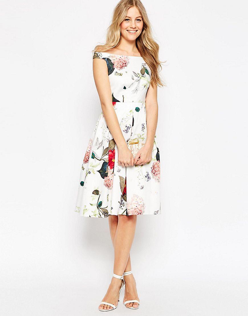 8d80c9e26e1 ASOS+Off+The+Shoulder+Midi+Prom+Dress+in+Botanical+Floral ...