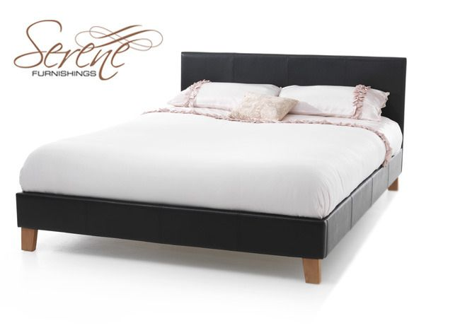 Serene Trivalo 4\u0027 Small Double Bed Frame in Black Faux Leather