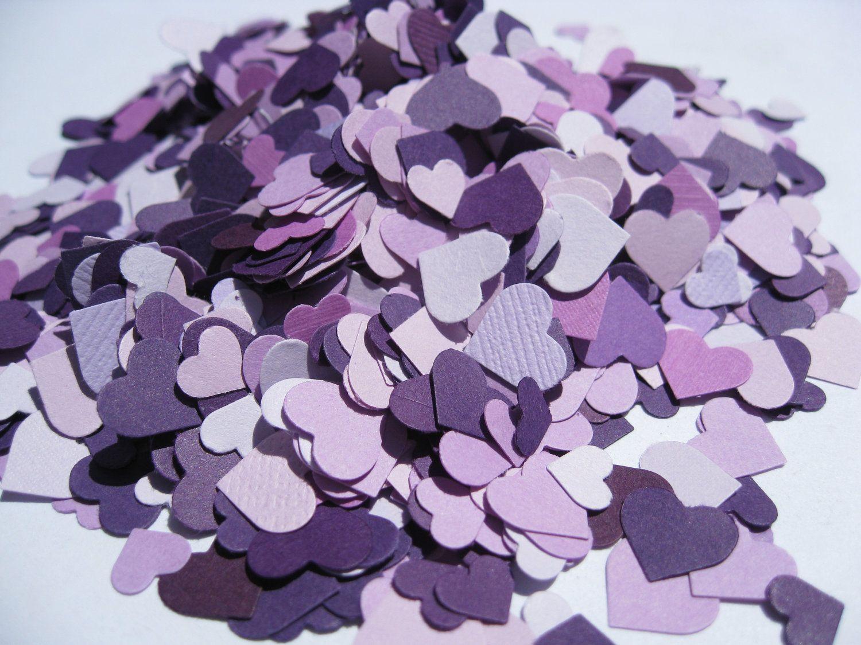 Lavender themed wedding decor   Mini Confetti Hearts In Purple Iris Lilac Lavender