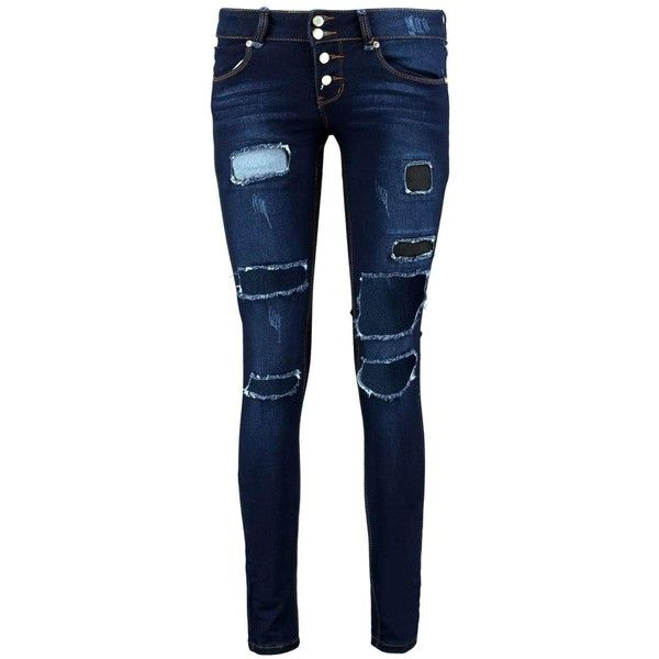 84d594f8977a Boohoo Eve Low Rise Rip Patch Distressed Skinny Jeans | Boohoo ($16) ❤  liked on Polyvore featuring jeans, blue ripped jeans, skinny fit jeans, ...