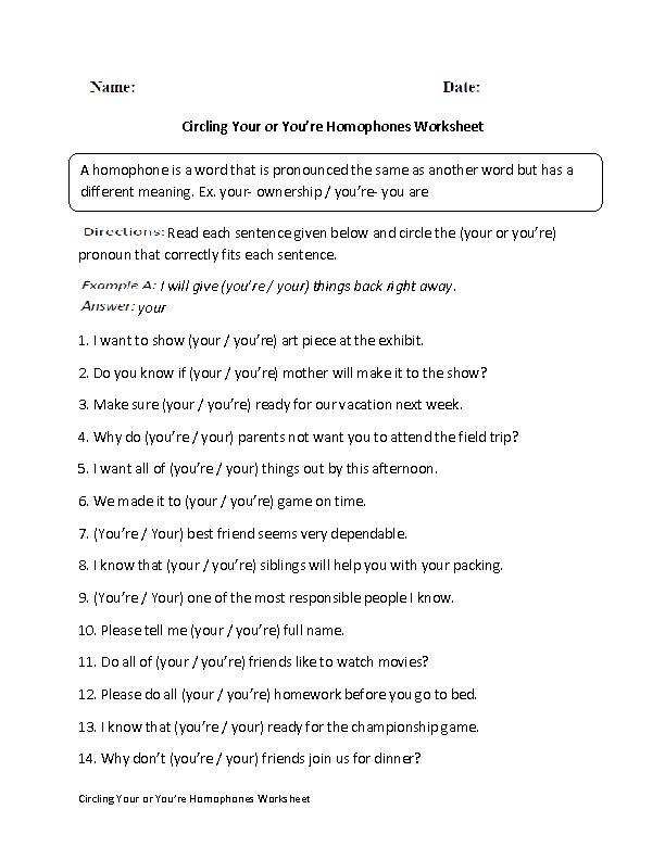 Printable Worksheets words with multiple meaning worksheets : Your or You're Homophones Worksheet | Teaching | Pinterest ...