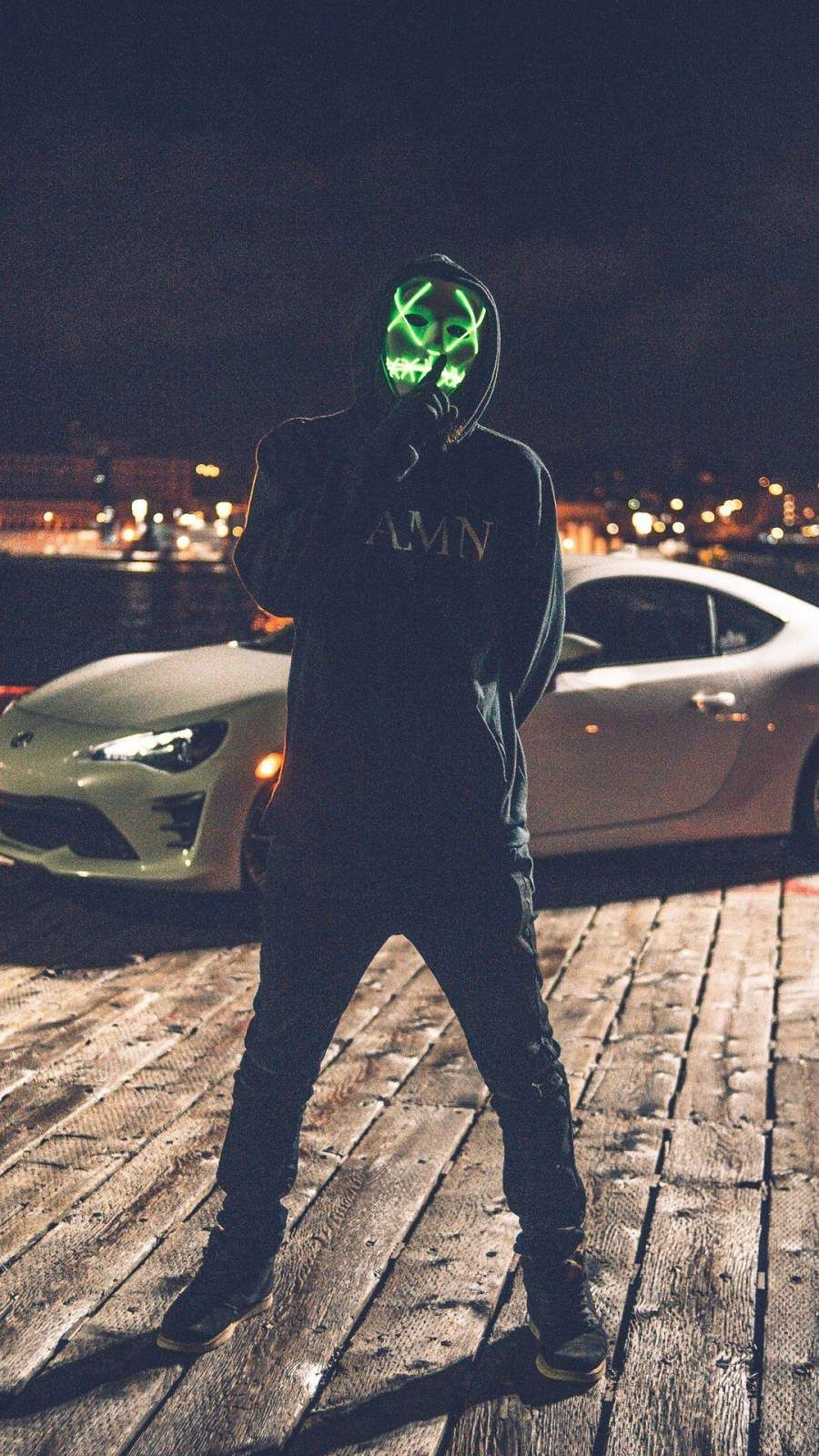Mask Man With Car Iphone Wallpaper Iphone Wallpaper Car Iphone Wallpaper Masked Man Anonymous mask guy white car road