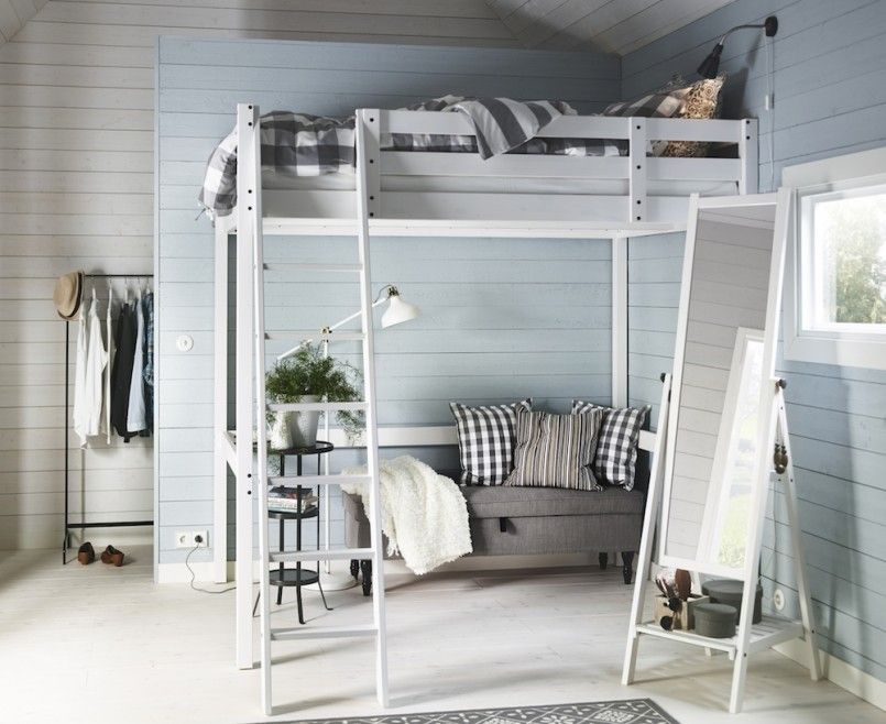 Bedroom, Small Bedroom Decorating Tips Using White Wooden Loft Bed ...