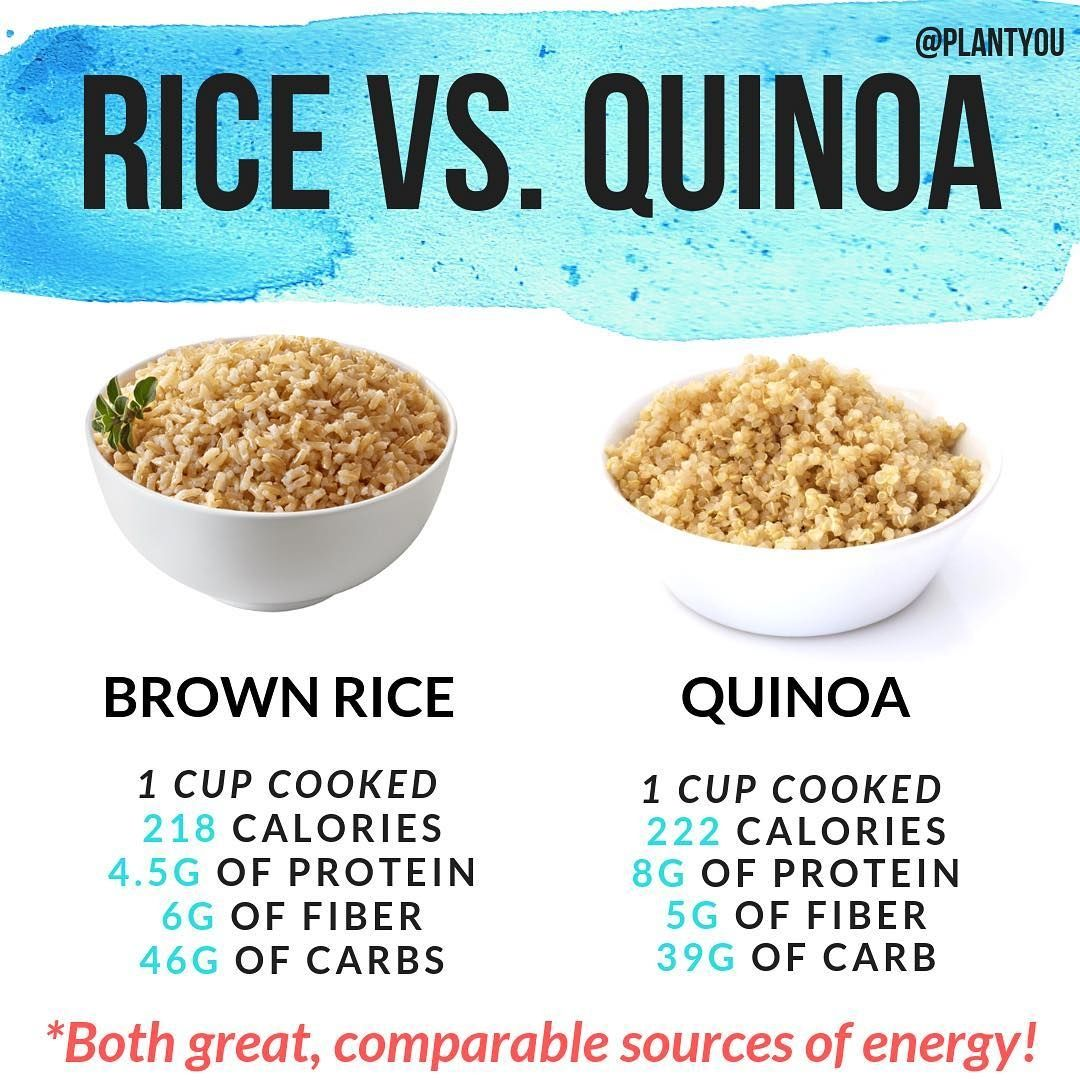 Brown Rice 🆚 Quinoa! - Which is your favorite out of the two? 🧐 - Nutritionally, they are both great sources of energy, with quinoa having a bit more protein! 💪🏻 - I personally utilize both as healthy carb sources regularly in my vegan meal plans (link in bio)! 🛒 . . .