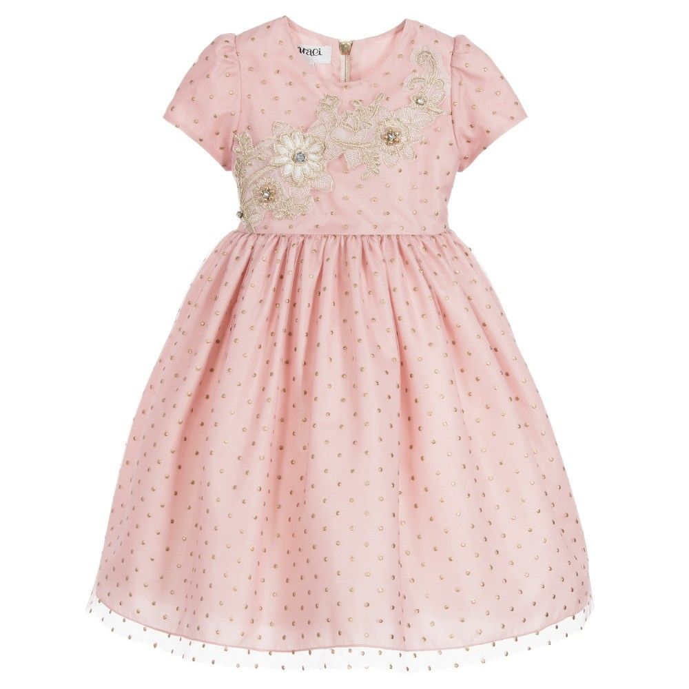 670e26dad5b3 Pink   Gold Dotty Tulle Dress