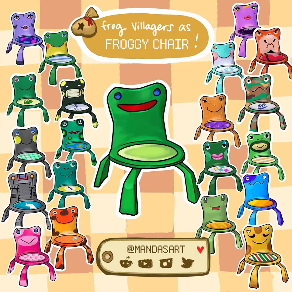 All frog villagers as froggy chair 🐸🪑 AnimalCrossing in