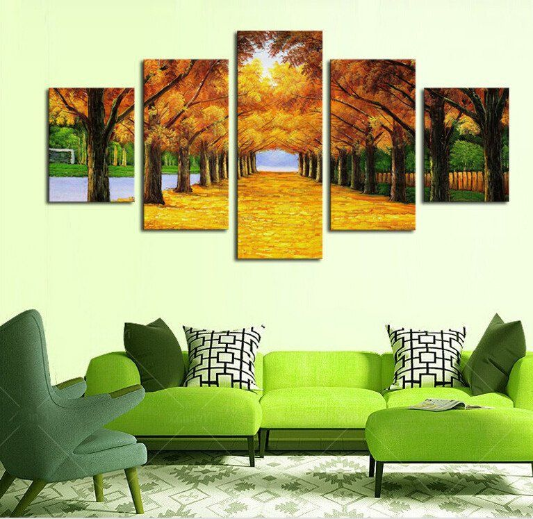 5 Panels Nature Yellow Golden Trees Modern Canvas Wall Art For Wall Decor Home Decoration Artwork