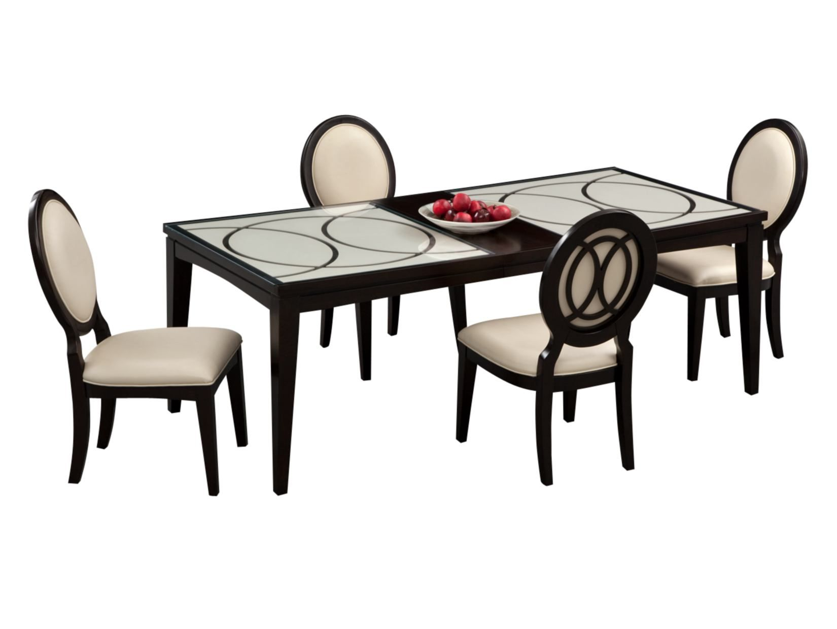 The Cosmo Dining Group Incredibly Sophisticated And Elegant This 5 Piece Package Includes A 72 X 40 Table Value City Furniture Furniture City Furniture