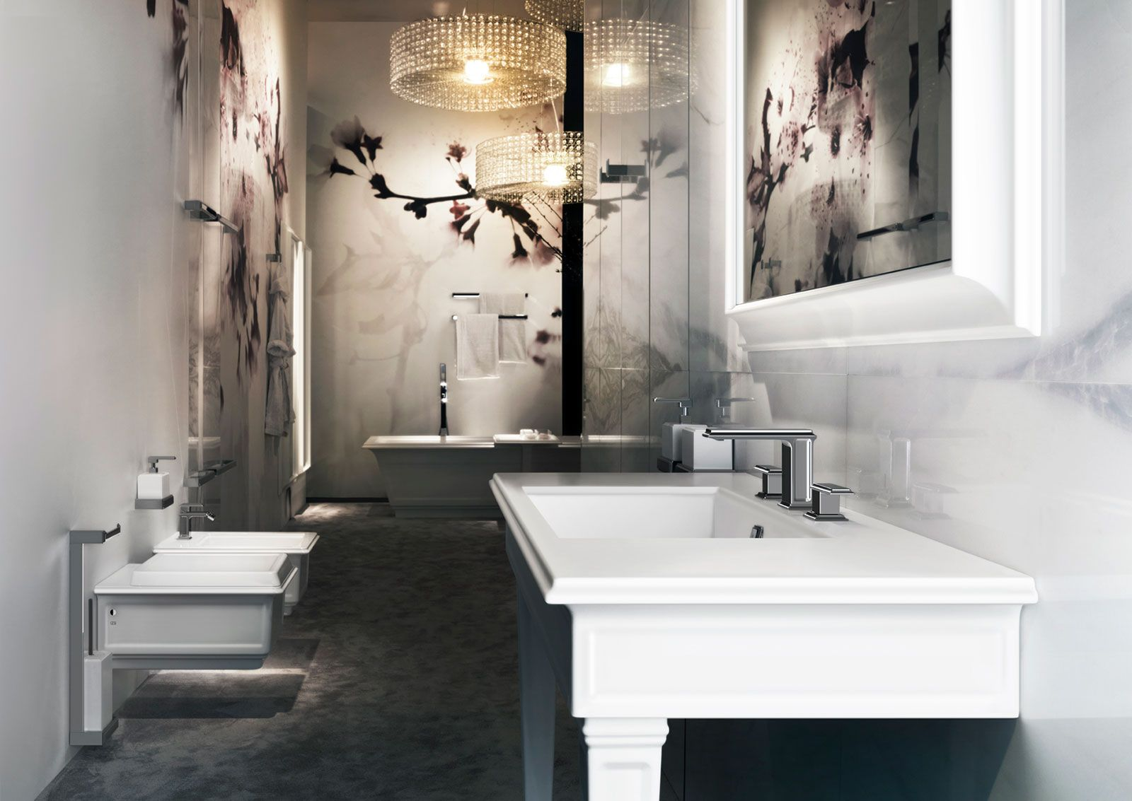 The Eleganza collection showcases bathroom fittings and