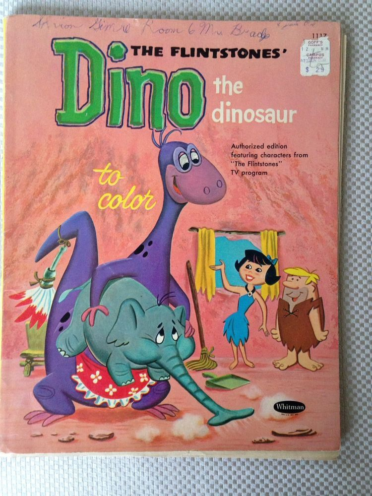 Vintage 1961 The Flintstones Dino The Dinosaur Coloring Book Whitman Publisher Collectibles Animation A Coloring Books Dinosaur Coloring Dino The Dinosaur