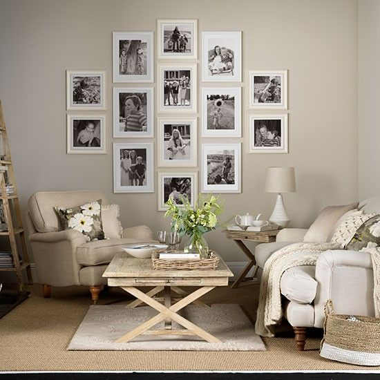 Grey and taupe living room with photo display living for Front room design ideas
