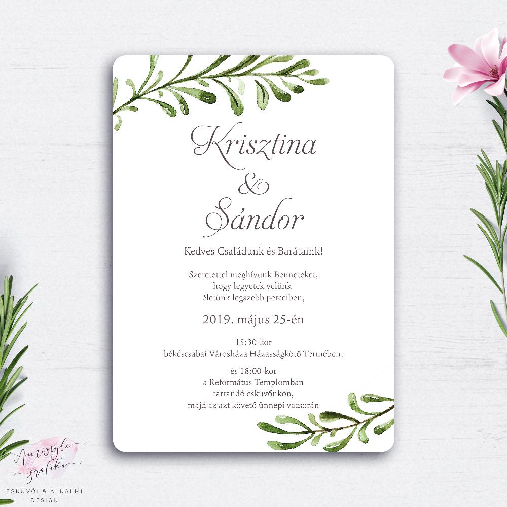 9ff607730e Greenery Esküvői Meghívó Festett Levélmintával - Esküvői Meghívó, Alkalmi  és Családi Grafika Webáruház