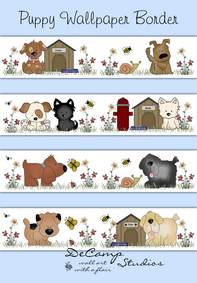 . Puppy Dog Wallpaper Border Wall Decals for baby girl or boy nursery
