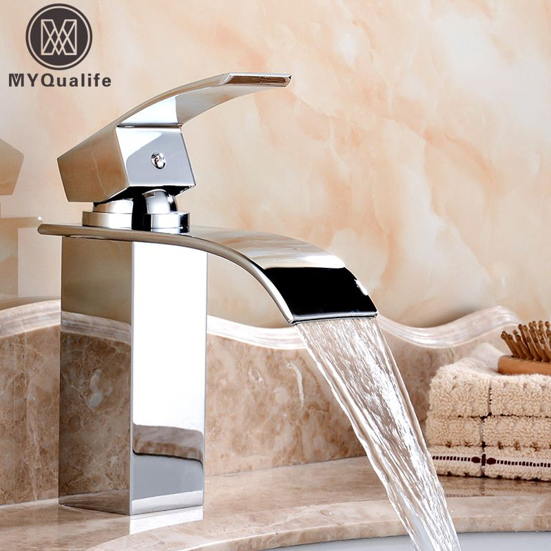 Wholesale And Retail Deck Mount Waterfall Bathroom Faucet Vanity ...