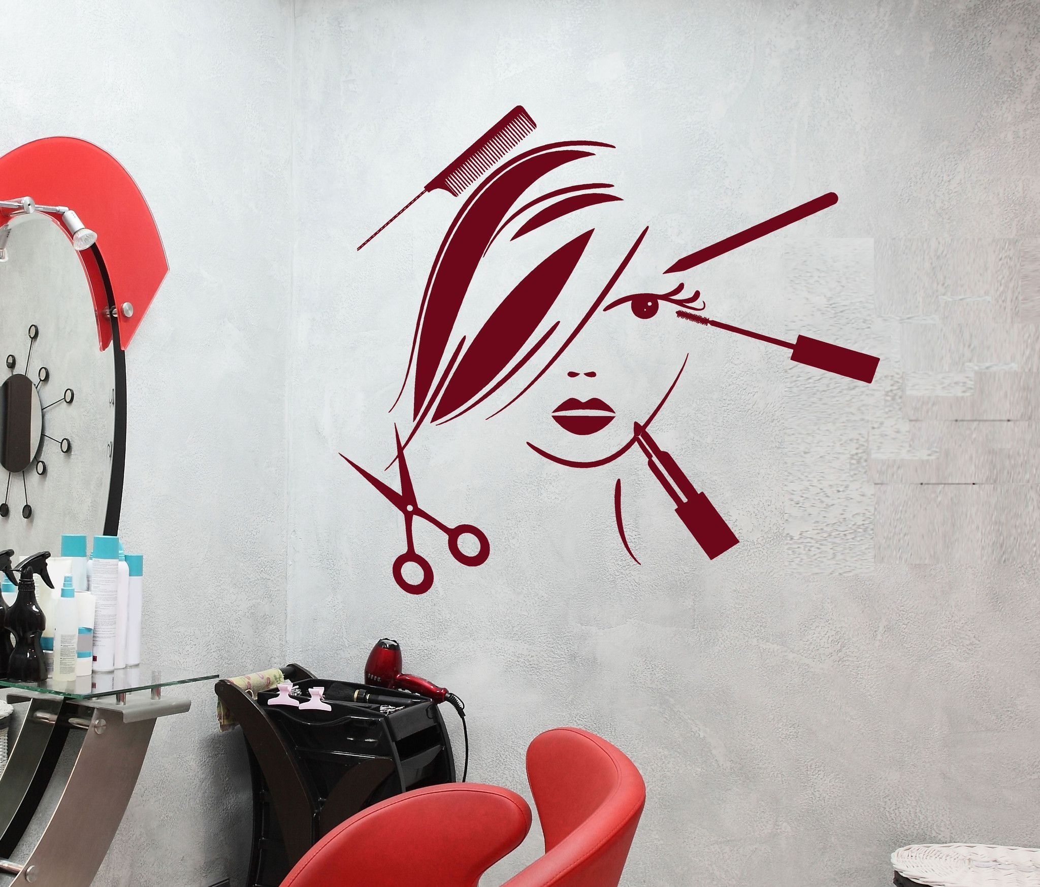 Vinyl decal beauty salon decor hair stylist tools spa barber style wall stick - Decoration mural salon ...
