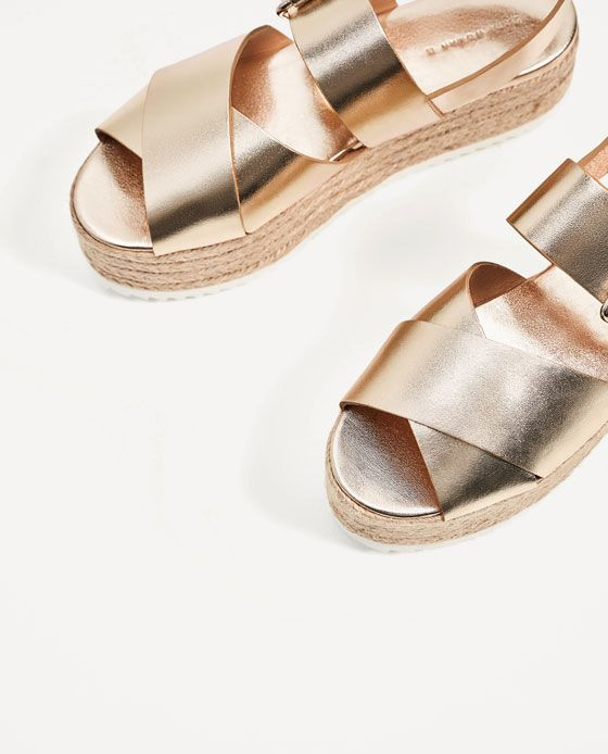 b40614b4999 Image 6 of LEATHER WEDGES WITH JUTE PLATFORM from Zara | Summer 2017 ...