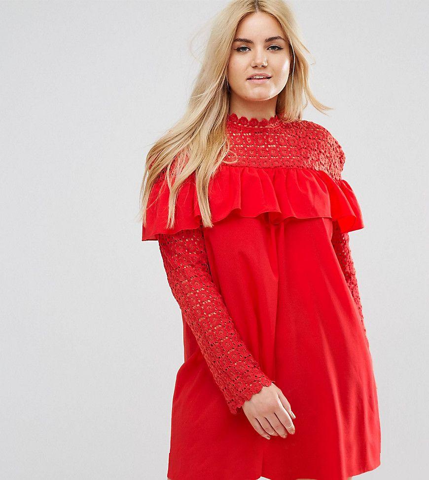 Club L Plus - Hochgeschlossenes Kleid mit Häkeldetail und langen ...
