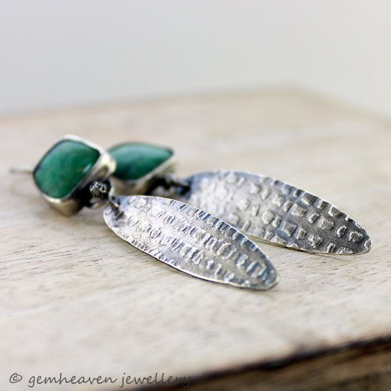 Sterling silver and Green Amazonite rustic statement by gemheaven, £55.00