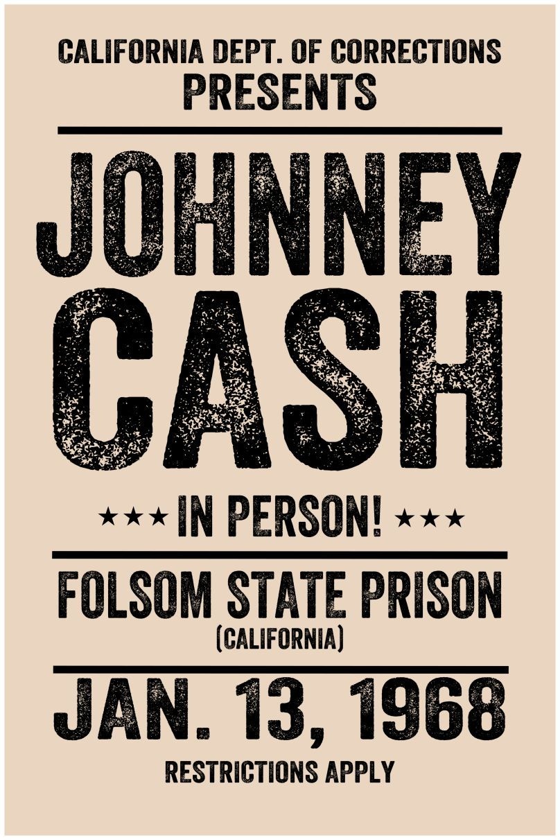 johnny cash style concert poster music