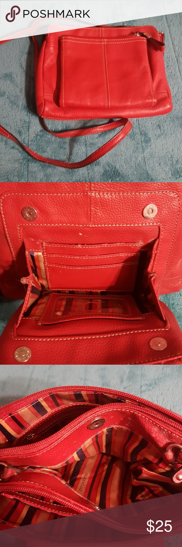 Tignanello Crossbody Purse Lightly Used Great Condition Leather Built In Wallet Means You