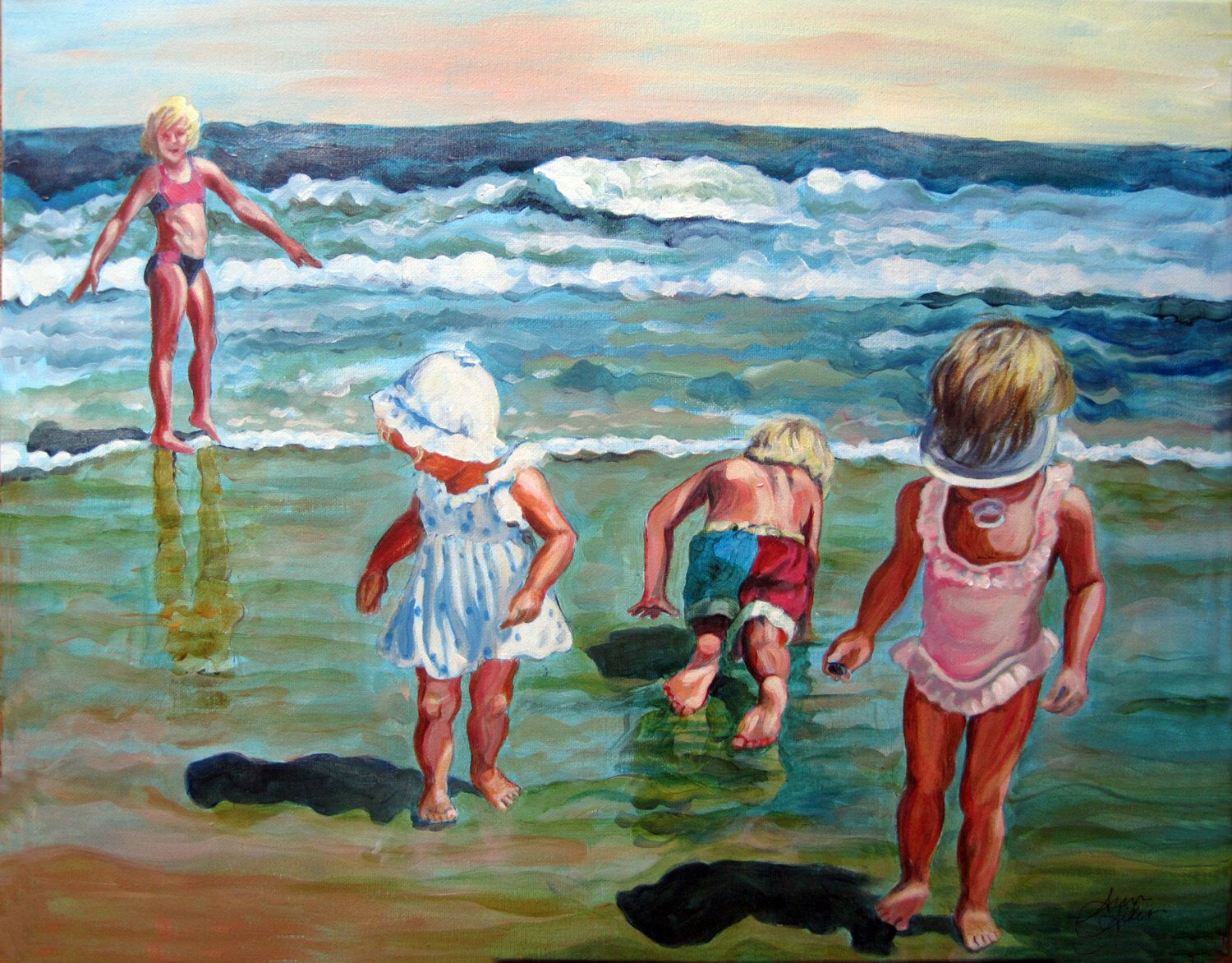 Custom acrylic painting of family done from photo