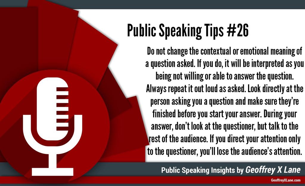Geoffrey X Lane on Public speaking tips, Public speaking