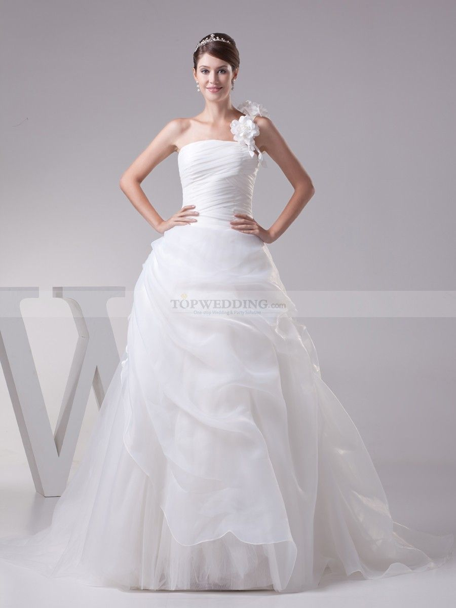 Floral One Strap Pleated Organza Satin Wedding Dress with Pick Ups ...