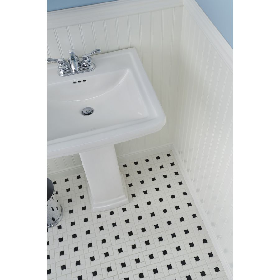 Shop Aquasource 33 1 In H White Vitreous China Pedestal Sink At Lowes Com Pedestal Sink Mosaic Wall Tiles Wall Tiles