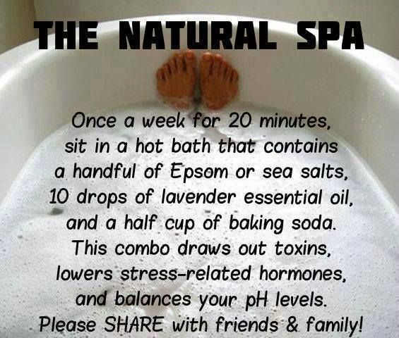 Handful of epsom salts, 10 drops lavender eo, 1/2 cup baking
