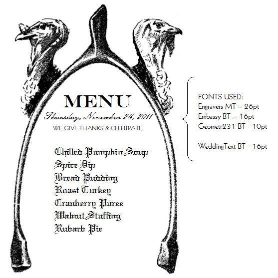 Printable Thanksgiving Menu Card & Vintage Clipart
