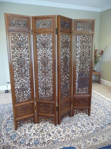 Antique Chinese 4 Panel Hand Carved Wooden Screen