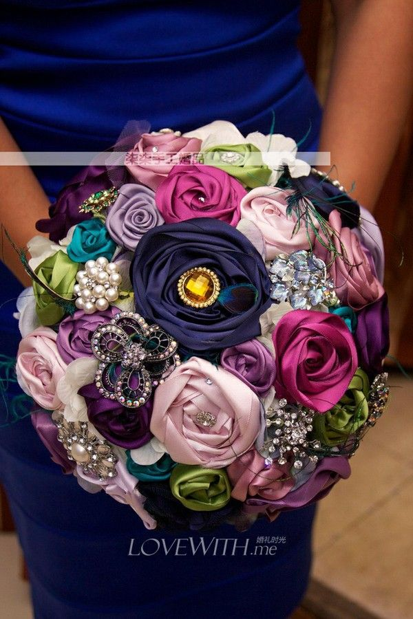 silk flower bouquet w/ brooches - add knitted flowers? @Emily ...
