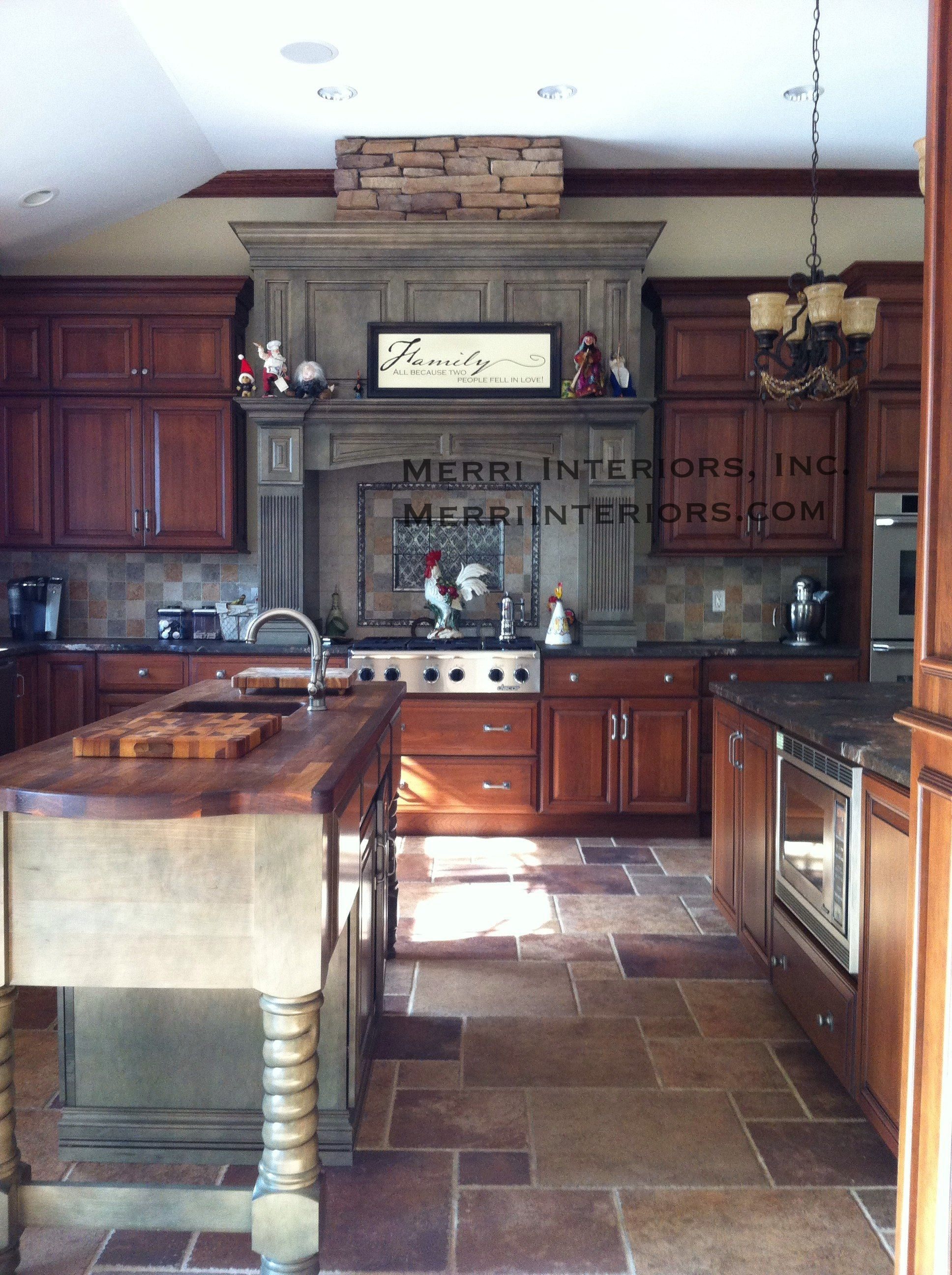 Beautiful Two Tone Kitchen. Green Floating Hood And Green