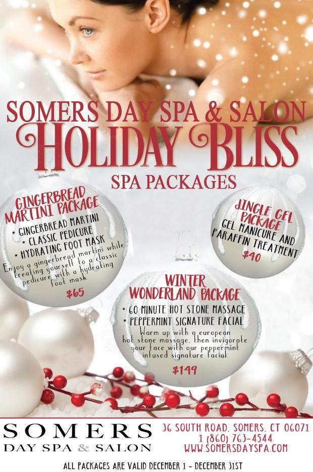 Somers Day Spa & Salon Holiday Spa Packages 2016 Spa salon