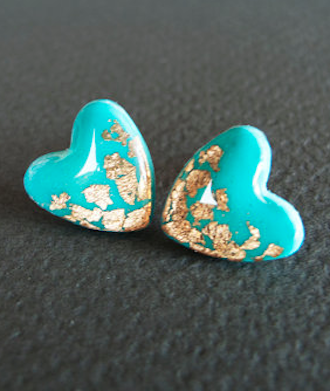 Turquoise Heart Stud Earrings - Polymer Clay and Resin Jewelry