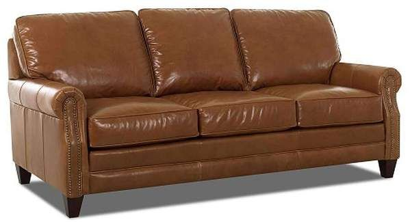 Oswald Classic Rolled Arm Leather Couch w/ Decorative ...