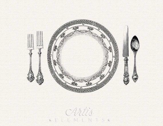 Printable Placemat Elegant Place Setting Dinner By Artiselements 4 50 Dulce Hogar Hogar