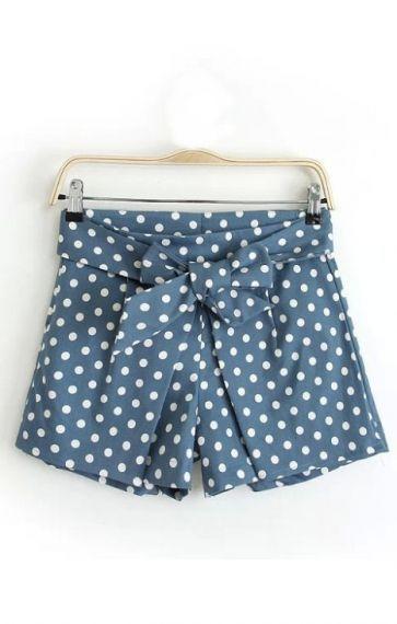 Polka Dot Printing Bowknot Decorated Loose Shorts