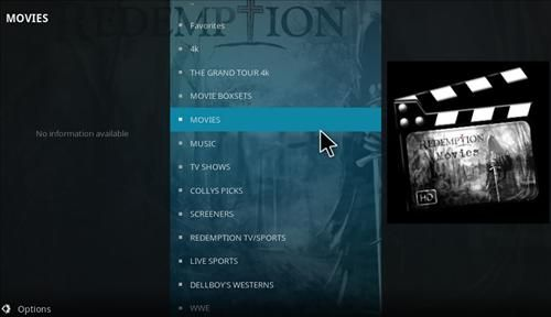 Overview Redemption Add-on Kodi 17 Krypton pic 1