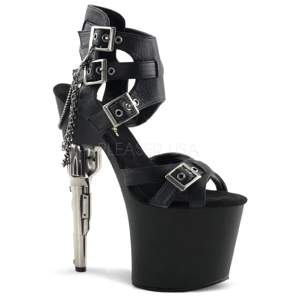 PLEASER Sexy Gun High Heels Strappy Black Buckling Platform Exotic Dancer  Shoes these are freakung amazing!