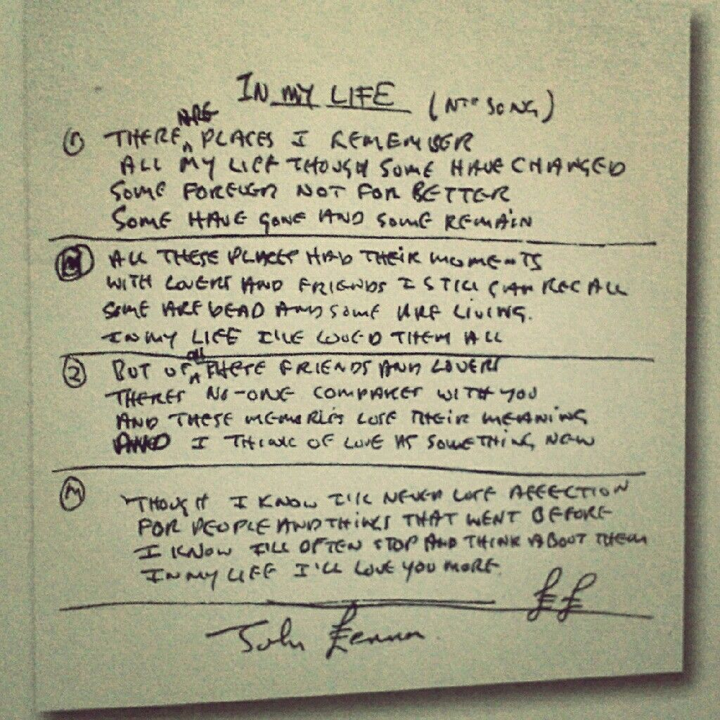 The Hand Written Lyrics To One Of My Favorite Beatles Songs