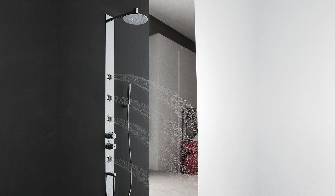 Well Tonda colonna doccia a parete o incasso con 4 getti