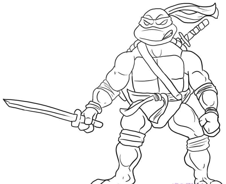 Leonardo Ninja Will Readily Kill Coloring Pages | Coloring pages ...