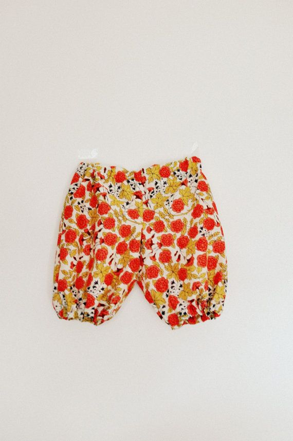Baby girls floral orange and yellow print baggy bloomer type summer trousers pants 6-12 months