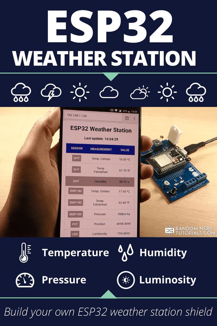 ESP32 DIY Weather Station Shield | Random Nerd Tutorials