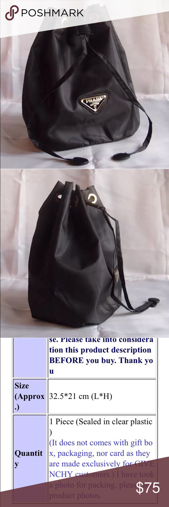 PRADA Parfums VIP Gift Cosmetic Nylon Bag Authentic VIP Gift- Black  drawstring nylon purse, cosmetic  makeup pouch Size  28x13.5x23.5 cm  (LxWxH) Prada Bags ... 4b0a3a5c94