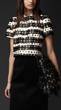 Black and White Outfit with Metal Eyelets