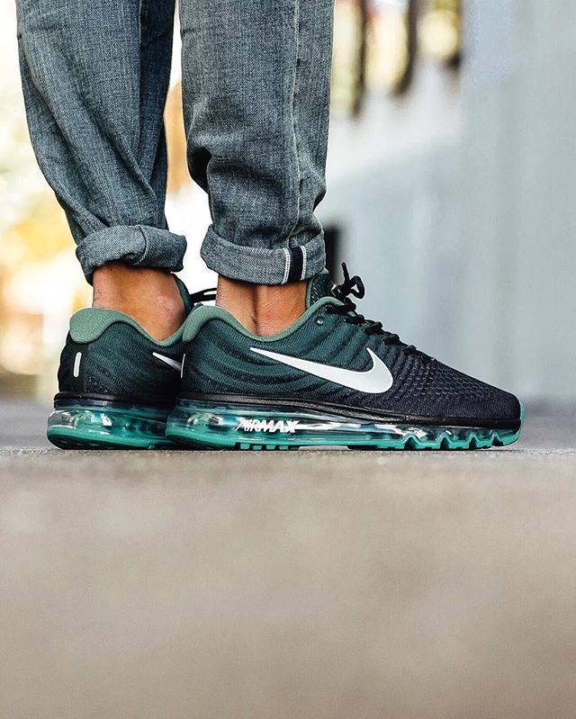 competitive price 8b6fa f7199 Nike Air Max 2017  Black White Green Stone Nike Running Shoes Women,